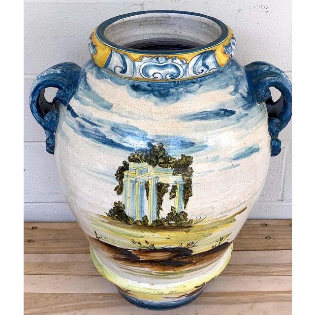 Ceramic Italian Majolica Landscape Olive Oil Jar/ Jardinière For Sale - Image 7 of 12