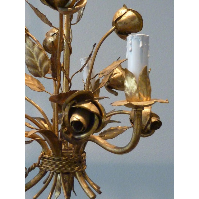 1960s Italian Gilded Rose Flower Chandelier - Image 5 of 8