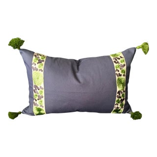 Brand New Blue Lumbar Pillow Cover With Green Tassels and Batik Tape Trim For Sale
