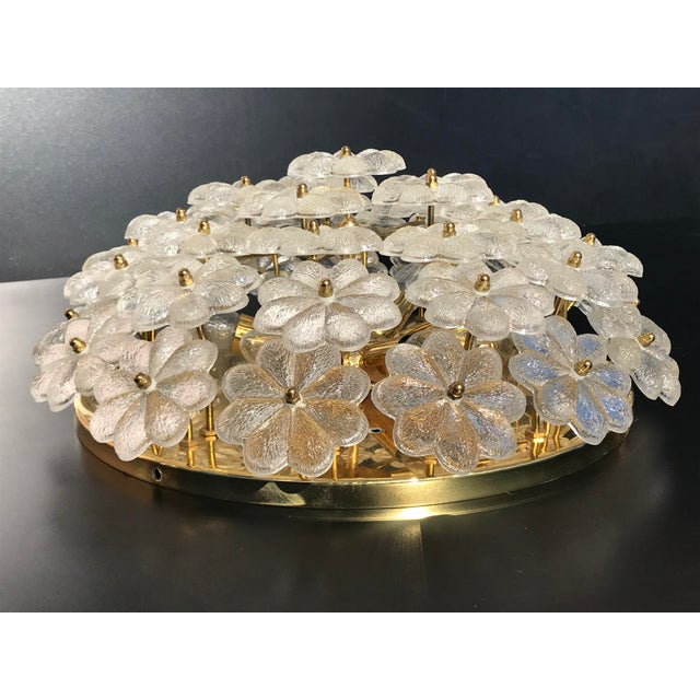 Ernst Palme Extra Large Floral Glass Flush Mount - Image 4 of 7