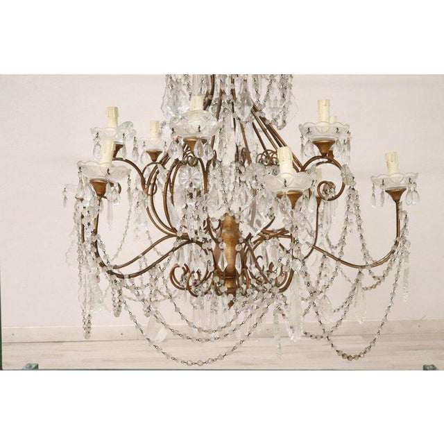 1940s 20th Century Louis XVI Style Gilded Bronze and Crystals Large Luxury Chandelier For Sale - Image 5 of 11