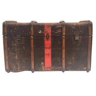"Antique Steamer Trunk Red Stripe Liprosta Brass & Canvas -40"" For Sale"