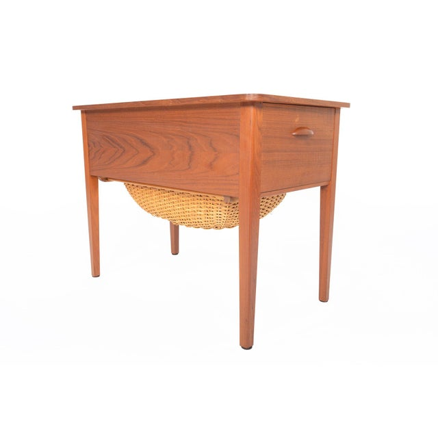 Danish Modern Teak Sewing Box With Basket For Sale - Image 10 of 10