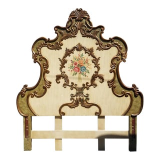 Antique French Provincial Hand-Painted Queen Headboard For Sale
