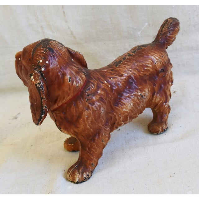 Mid 20th Century Charming Vintage Cast Iron Dog Figure Doorstop For Sale - Image 5 of 12