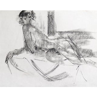 "Vintage 1975 ""Reclining Nude"" Drawing"