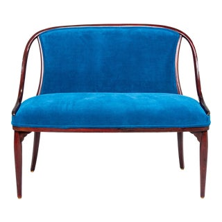 Thonet Bentwood Settee With New Teal Blue Velvet Upholstery For Sale