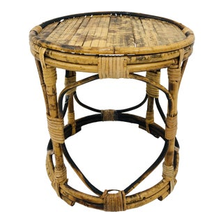 Antique Scorched Bamboo Plant Stand Side Table For Sale