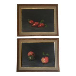 Vintage Original Fruit Still Life Paintings - A Pair For Sale