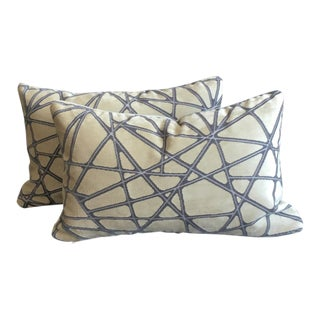 Holly Hunt Tangled: Silver Streak Lumbar Pillows (W/ Mushroom Velvet Backing) - a Pair