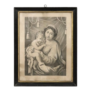 19th Century Italian Lithograph, Print Madonna With Jesus Child For Sale