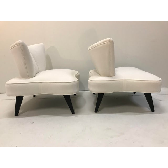 1940s 20th Century Pair Sculptural Art Deco Slipper Arm Less Chairs Attributed to Grosfeld House For Sale - Image 5 of 12