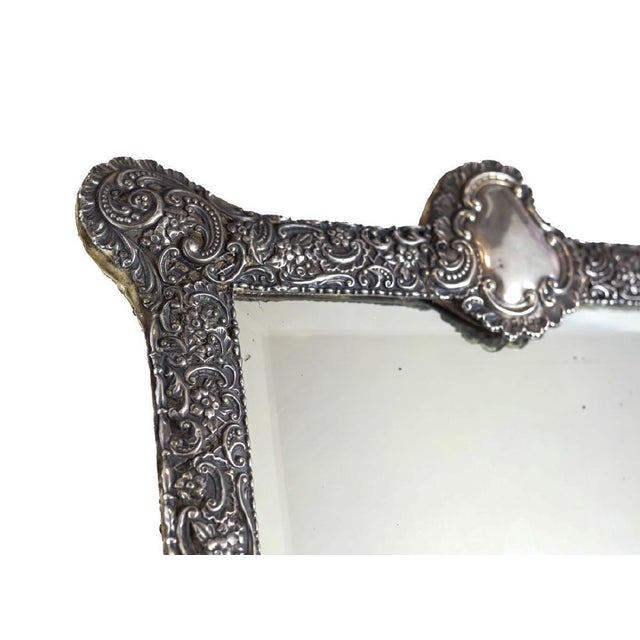 Circa 1903 Fine English Victorian Sterling Silver Leather & Wood Mounted Table Mirror - Image 3 of 7