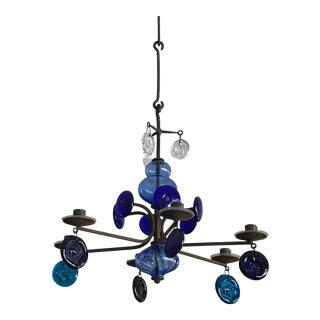 1960s Modern Erik Hoglund for Kosta Boda Blue Glass Chandelier For Sale