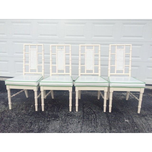 Faux Bamboo Dining Chairs With Cane Back - S/4 - Image 2 of 9