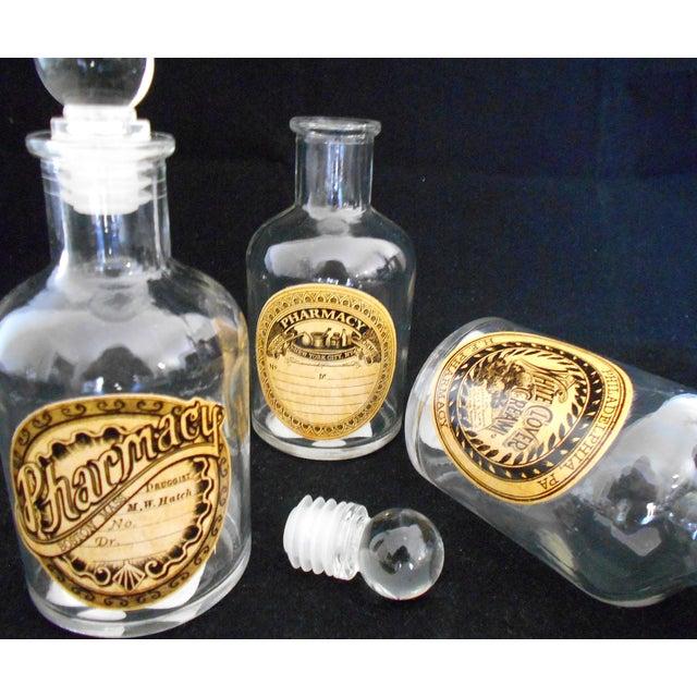 Vintage Glass Pharmacy Bottles - Set of 3 - Image 5 of 9