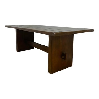 Organic Modern Solid Oak Dining Table For Sale