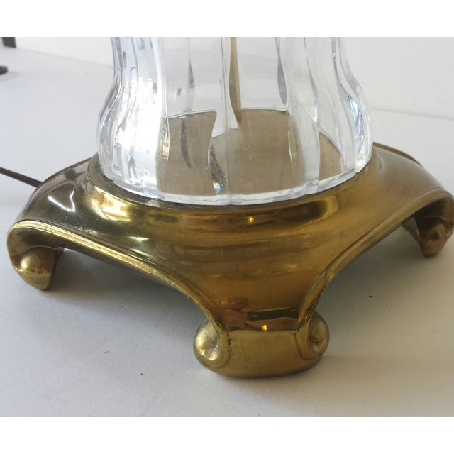 Mid 20th Century Crystal & Brass Ginger Jar Lamp For Sale - Image 5 of 9