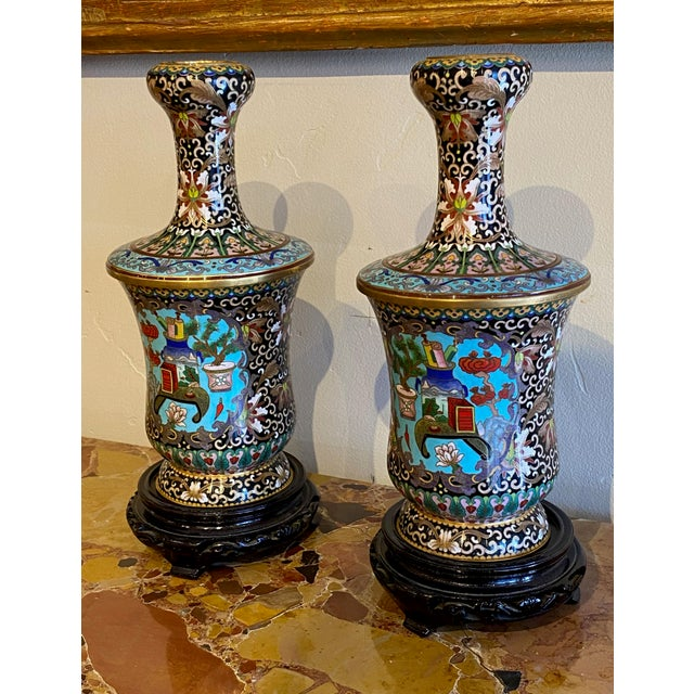 Asian 19th Century Chinese Cloisonné Vases-a Pair For Sale - Image 3 of 10