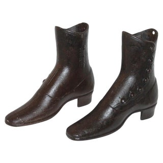 19th Century Pair Cast Iron Boots Signed New York City For Sale