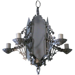 Art Deco Chandelier with Geometric Details For Sale