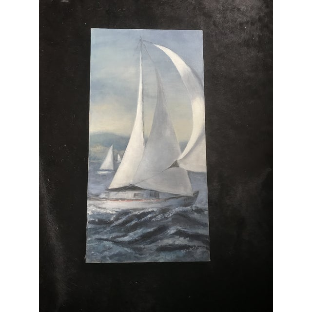 Late 20th Century Seascape Blue Sailboat Watercolor Painting - Signed Original For Sale - Image 5 of 5