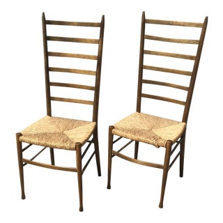 Vintage Italian Ladder Back Chairs With Rush Seats- Pair For Sale