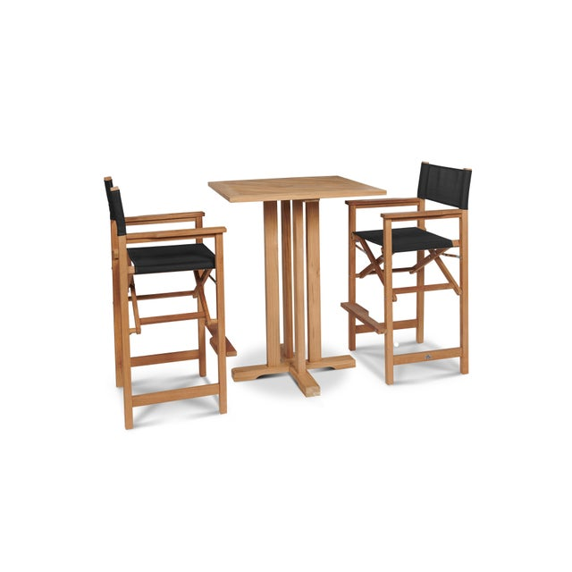The Captain Bar 3-Piece Teak Outdoor Dining Set Arms is a contemporary look from a classic style. The set features one bar...
