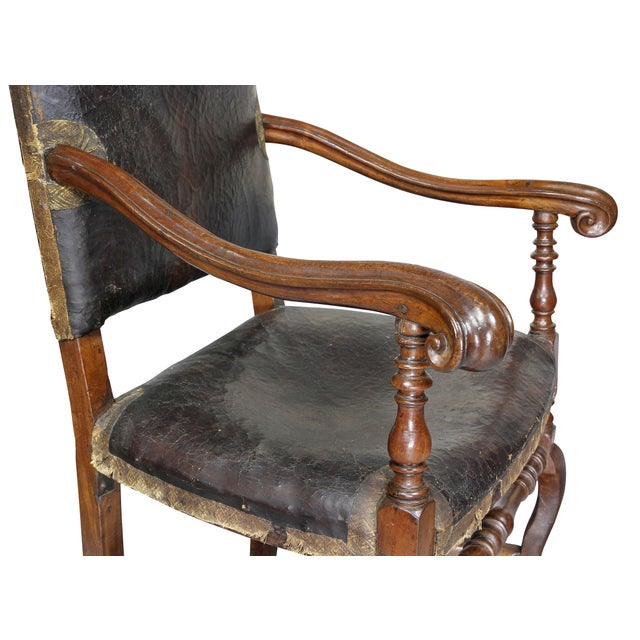 Baroque Italian Baroque Walnut Armchairs - a Pair For Sale - Image 3 of 11