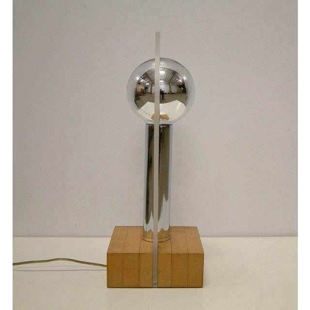 Modern Lucite, Chrome & Wood Lamp For Sale - Image 4 of 8
