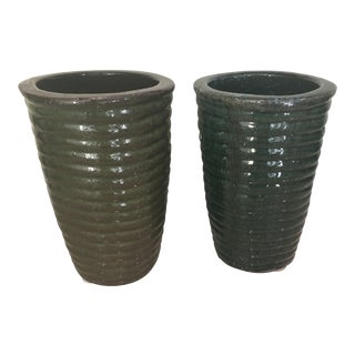 Green Pottery Vases - A Pair For Sale