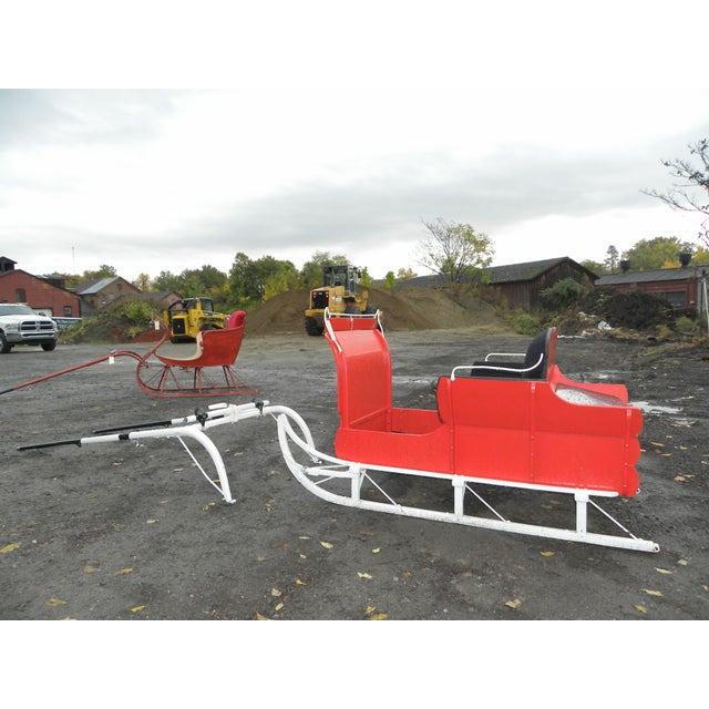 Equestrian Antique Restored Red Holiday Sleigh Sled - Image 4 of 11