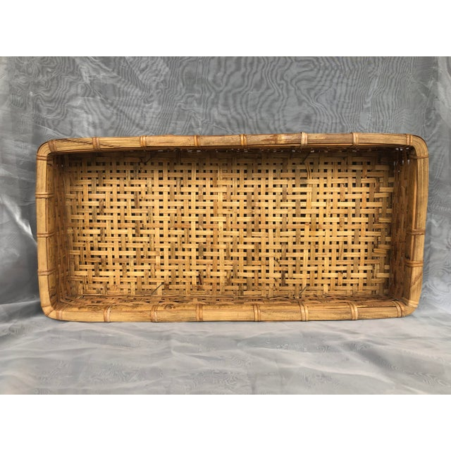 Rustic Late 20th Century Large Woven Bamboo Tray Basket For Sale - Image 3 of 13