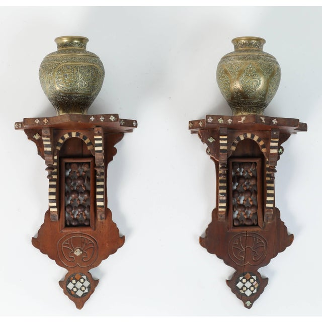 Persian Engraved Ghalam-Zani Brass Vases With Wooden Wall Brackets For Sale - Image 10 of 10