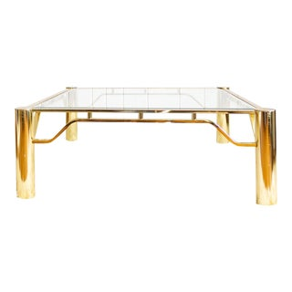 Brass and Glass Coffee Table |Large Square Contemporary For Sale