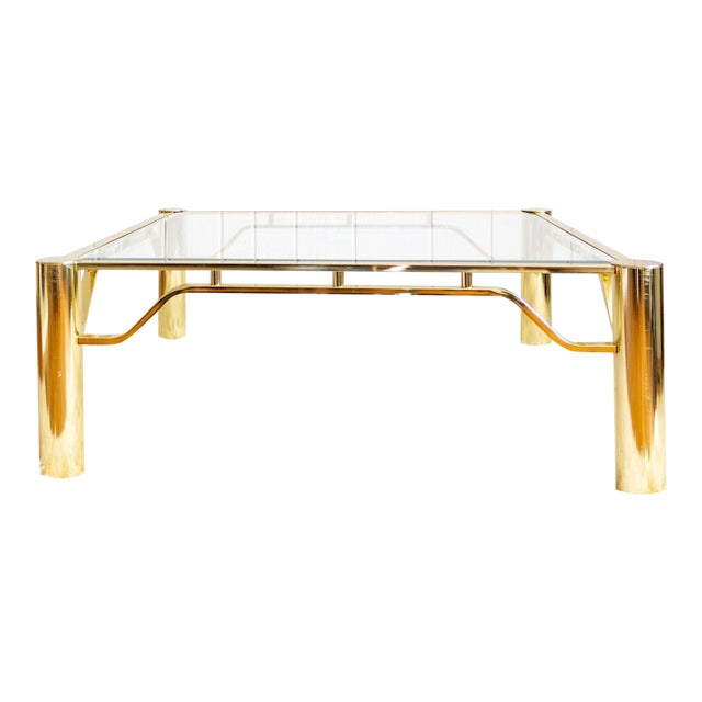 Brass And Glass Coffee Table Large Square Contemporary Chairish