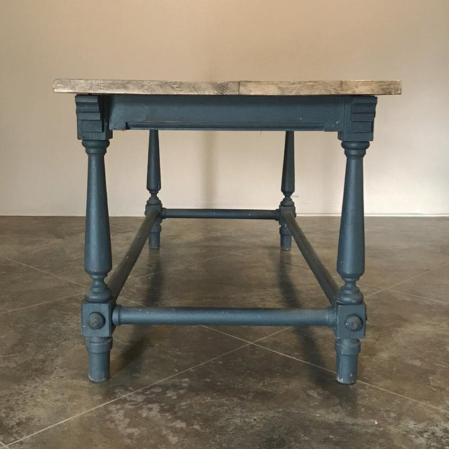 Antique Painted Dining Table With Stripped Top For Sale - Image 10 of 12