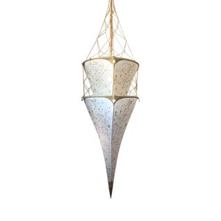 1970s Fortuny Silk Venetian Pointed 2 Tier Lantern Chandelier For Sale