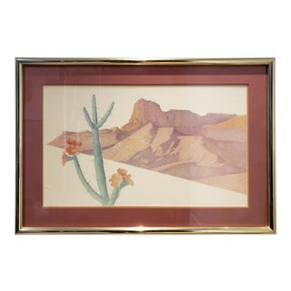 Large 1970's-80's Southwest Desert Landscape Cactus Print For Sale