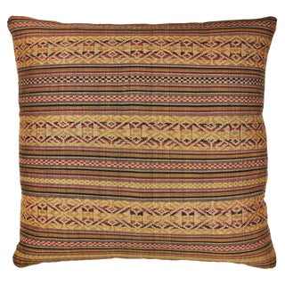 Vintage Laos Brocade Weave Pillow For Sale