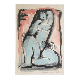 Moving Sale - Blue Nude Limited Edition Screen Print by Dutch Artist Nic Jonk - 1983