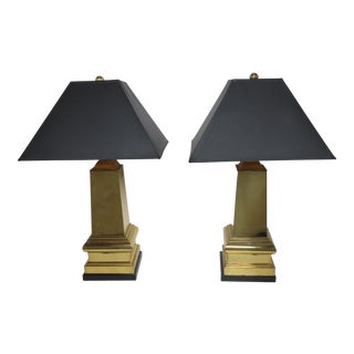 20th Century Hollywood Regency Frederick Cooper Crackled Brass Lamps - a Pair