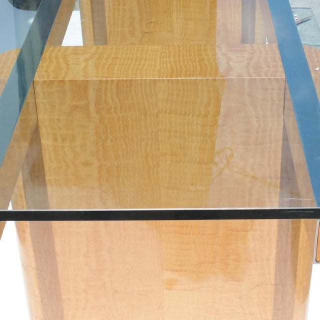 Vladimir Kagan Handmade Drop Leaf Glass Top Dining Table by Vladamir Kagan for Kagan Designs For Sale - Image 4 of 10