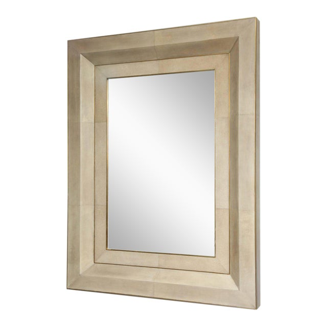 Chic Goatskin and Shagreen Mirror with Brass Trim For Sale