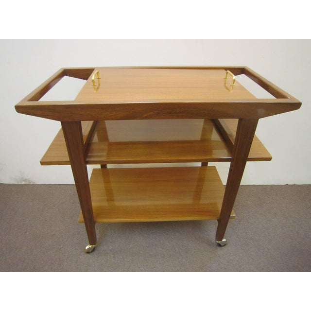 French Mid-Century Modern Walnut Bar Cart Trolley/ Server/ Biblio, Andre Sornay For Sale - Image 11 of 11