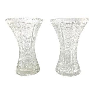 Antique American Brilliant Cut Glass Vases- A Pair For Sale
