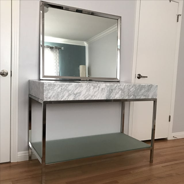 Chrome Mid-Century Modern Marble Bathroom Vanity with Chrome Mirror For Sale - Image 7 of 9
