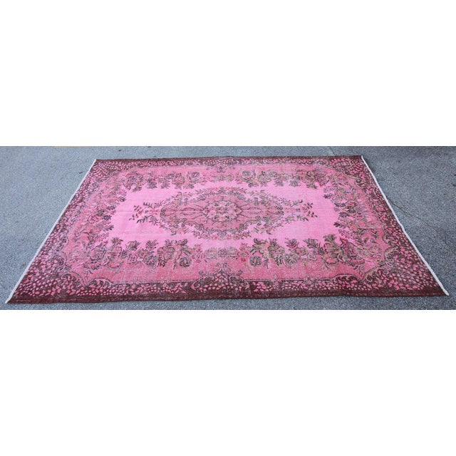 "Islamic Vintage Turkish Pink Overdyed Rug - 6' X 9'9"" For Sale - Image 3 of 5"