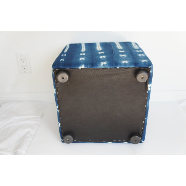 African Vintage African Indigo Mudcloth Cube Ottoman For Sale - Image 3 of 4