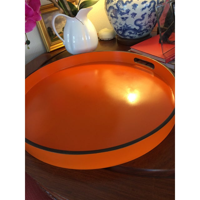 """Hermes Orange Inspired 21"""" Round Bar Serving Tray For Sale - Image 9 of 13"""
